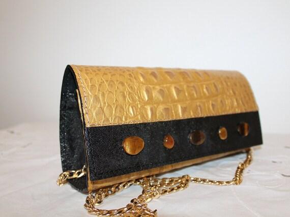 b36fc221ff039 Leder Clutch Tasche Gold Leder Abendtasche Leder Abend