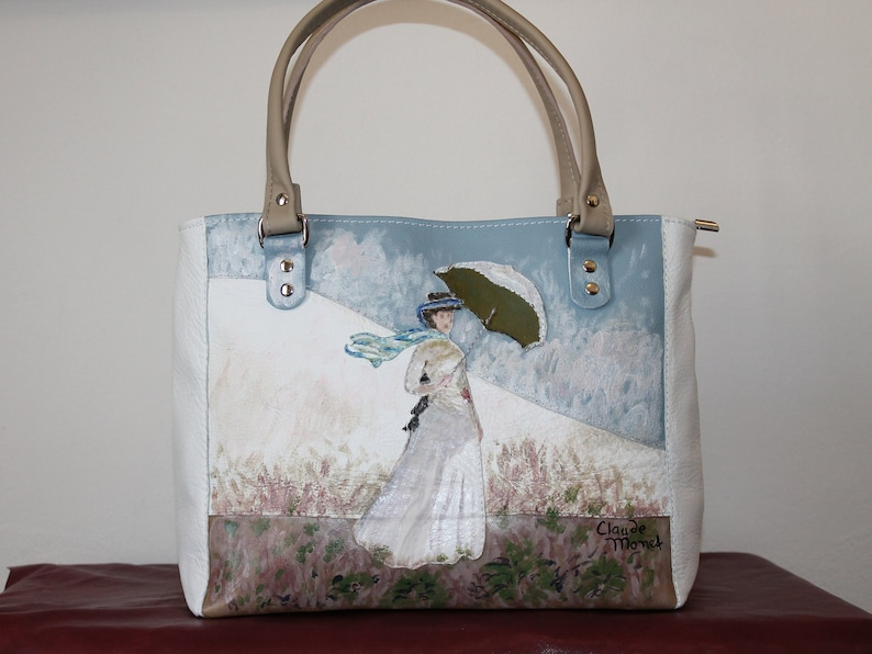 146fb25f3b9 Hand painted leather bag Monet, Italian leather bag women, Blue light  leather handbag, Hand painted purse leather, Leather tote bag applique