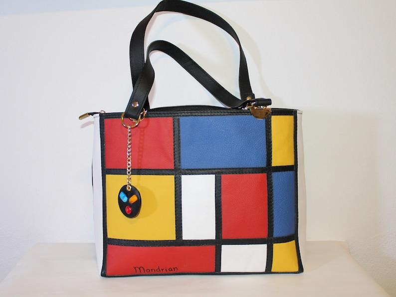 8de099b43c Mondrian leather bag women Yellow red leather handbag | Etsy