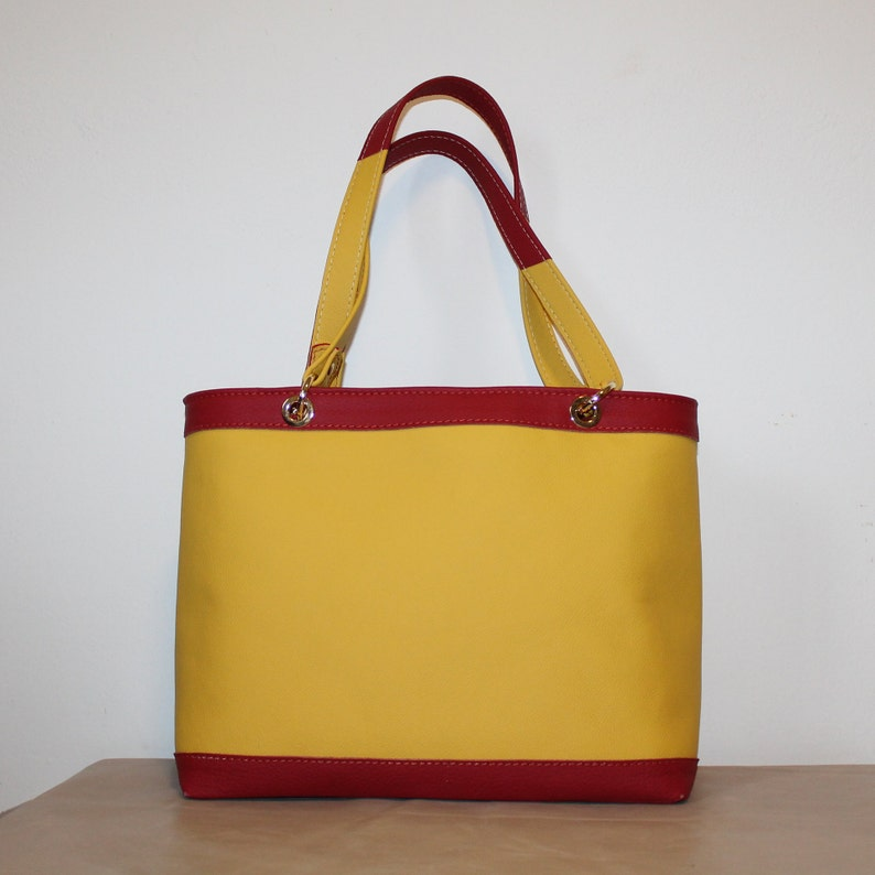 Colorful shoulder bag Red yellow leather purse Hand painted leather bag Leather applique purse Italian leather bag tote Kandinsky bag