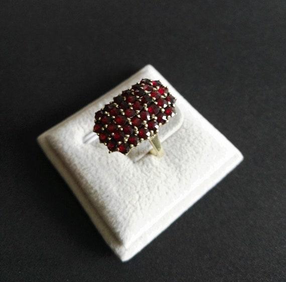 Garnet Ring, Bohemia Garnet, Art Nouveau, Garnet,