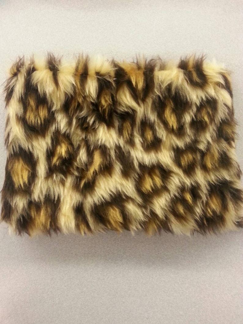 e4a665d0c93d Fluffy Faux Fur Leopard Print Pencil Case Clutch  Makeup Bag