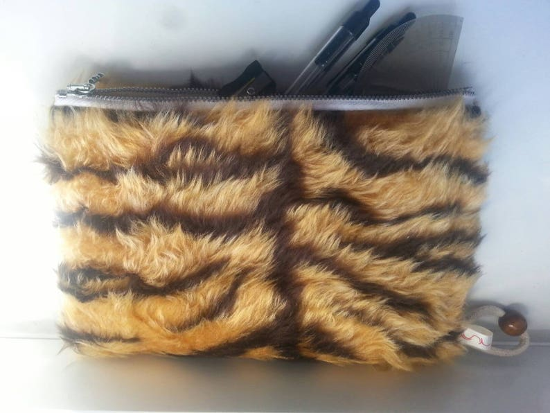 Fluffy Faux Fur Tiger Stripe Pencil Case Clutch  Makeup Bag  d491f92979019