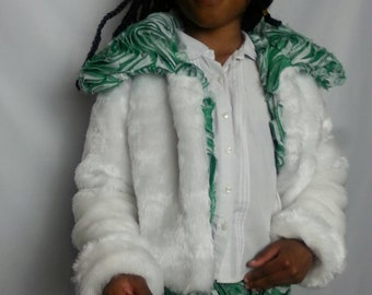 NEW  Girl white fur jacket with matching   green and white collar as with skirt