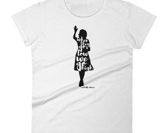 42be4fd0 Michelle Obama Women's short sleeve t-shirt, When They Go Low We Go High,  original design, feminist, first lady feminism womens rights shirt