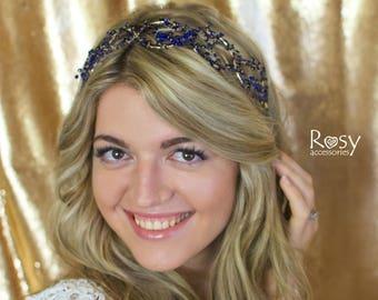 Wedding Tiara, Hair Halo, Wedding Crown, Wedding Vine, Deep Blue Wedding Hairpiece, Wedding Hair Vine
