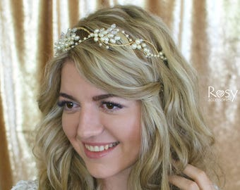 Wedding Tiara, Wedding Crown, Pearl Wedding Halo, Bridal Hair Accessories, Hair Vine, Wedding Hair Vine, Wedding Hairpiece, Wedding Diadem