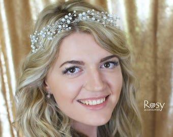 Wedding Hair Vine, Wedding Tiara, White Pearl Hair Halo, Bridal Vine, Pearl Vine, Wedding Hairpiece, White Wedding Hairpiece, Bridal Diadem