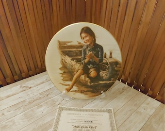 Artists of the World Kee Fung NG Children of Aberdeen Girl with Little Brother Collector Plate 1979