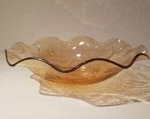 Vintage Carnival Glass Amber Fluted Serving Bowl