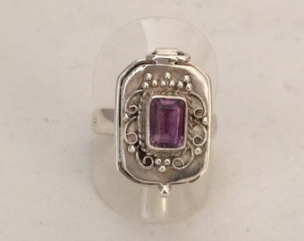 Ancient poison silver ring with amethyst stone