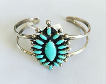 Silver and turquoise bracelet