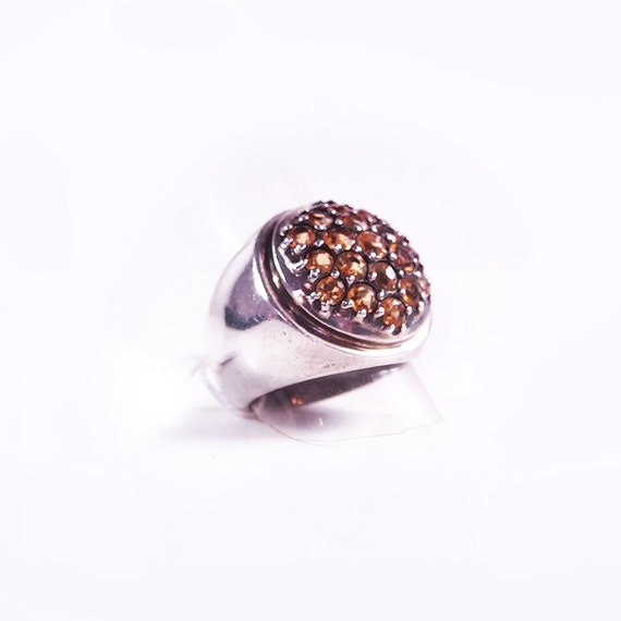 Silver and citrine ring