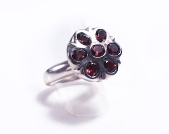Silver and Garnet flower ring