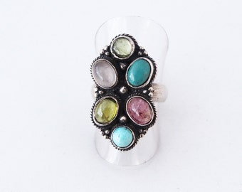 925 silver ring and multi stones