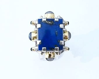 RARE big ring in silver, gold and multipierres
