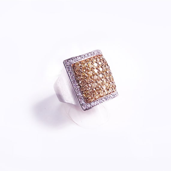 Silver citrine and crystal ring