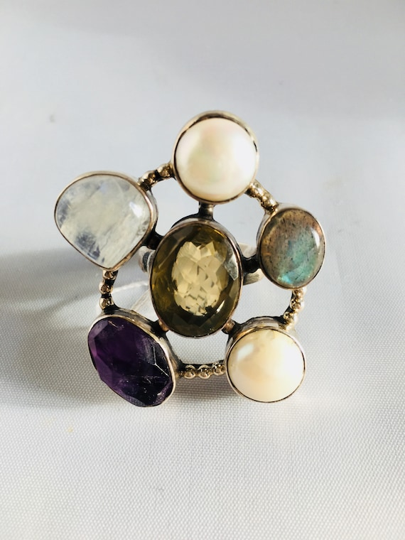 Multi Stone and Silver Ring