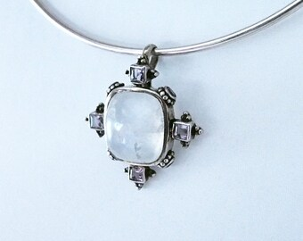 925 Silver sterling ornement pendant Moonstone and amethyst gemstones