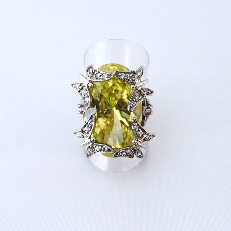 925 silver ring butterfly with cristal and peridot stone