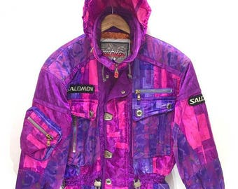 9416e59df9c6 Salomon Ski Jacket Fish Tail Unisex Multi Colour Abstract Hoodie Inside  Collar Made in Japan