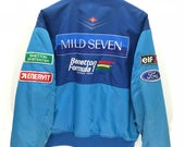 Rare Vintage Benetton Formula 1 Racing Team Mild Seven Bomber Jacket Quilted Lining United Colour of Benetton Bomber Jacket