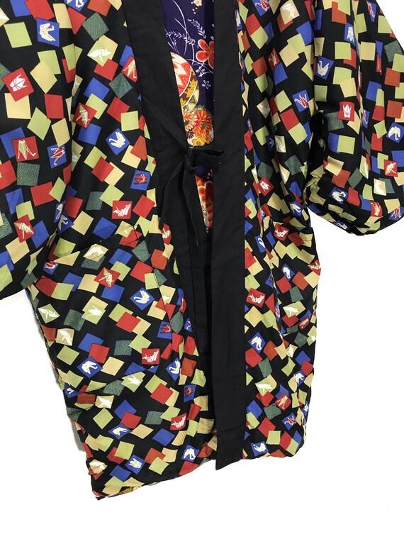 Reversible Hanten Jacket Padding Florals FullPrin… - image 8