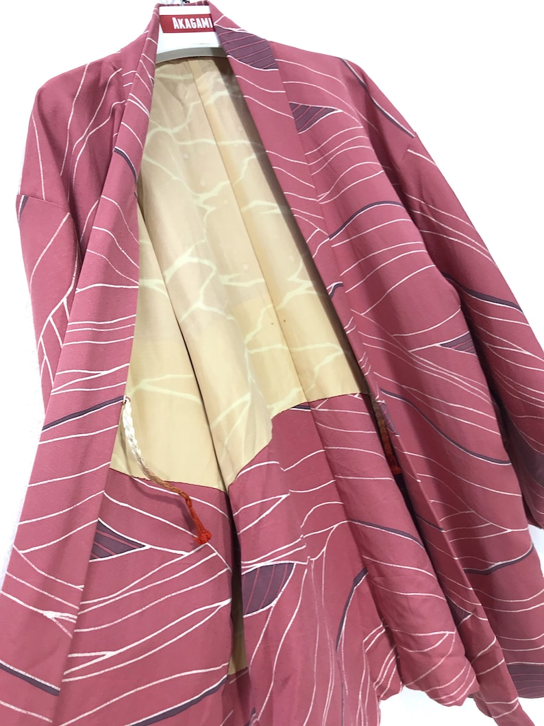 Made in Japan Vintage Haori Pinky Silk Kimono Drawstrings Kimono Light Jacket Hand Made Sashiko Stitch