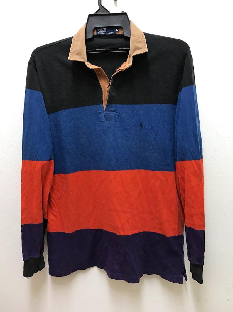 579fee98c8fd8 Polo Ralph Lauren Vintage Rare Multi Colour Stripes Hip Hop