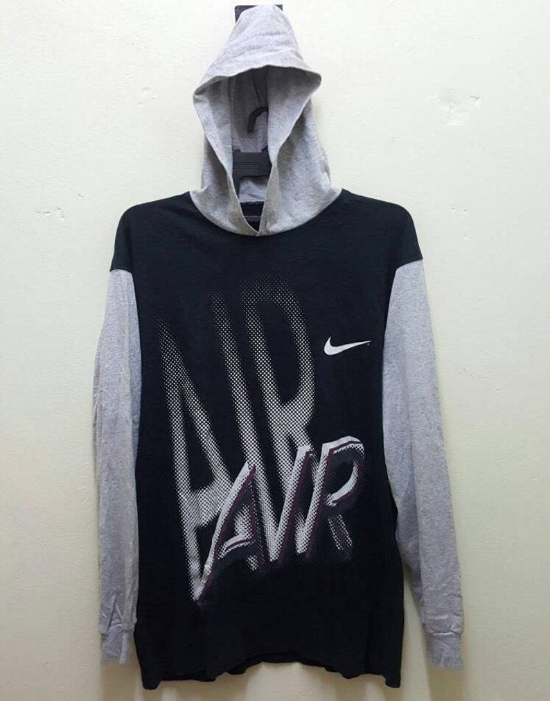 Nike Air Vintage Late 80s Rare Hoodie Shirt Big Logo Hip Hop Made in USA