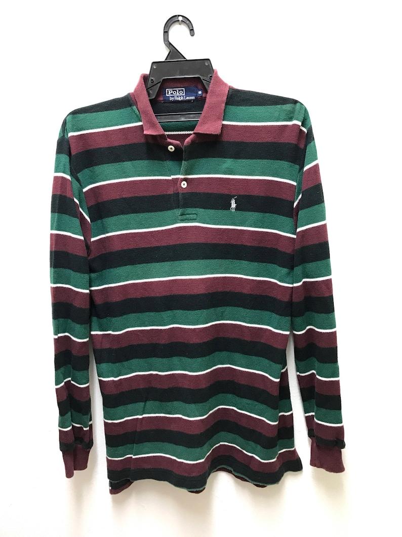 5930ae0272754 Polo Ralph Lauren Vintage Rare Polo Shirt Multi Colour Stripes
