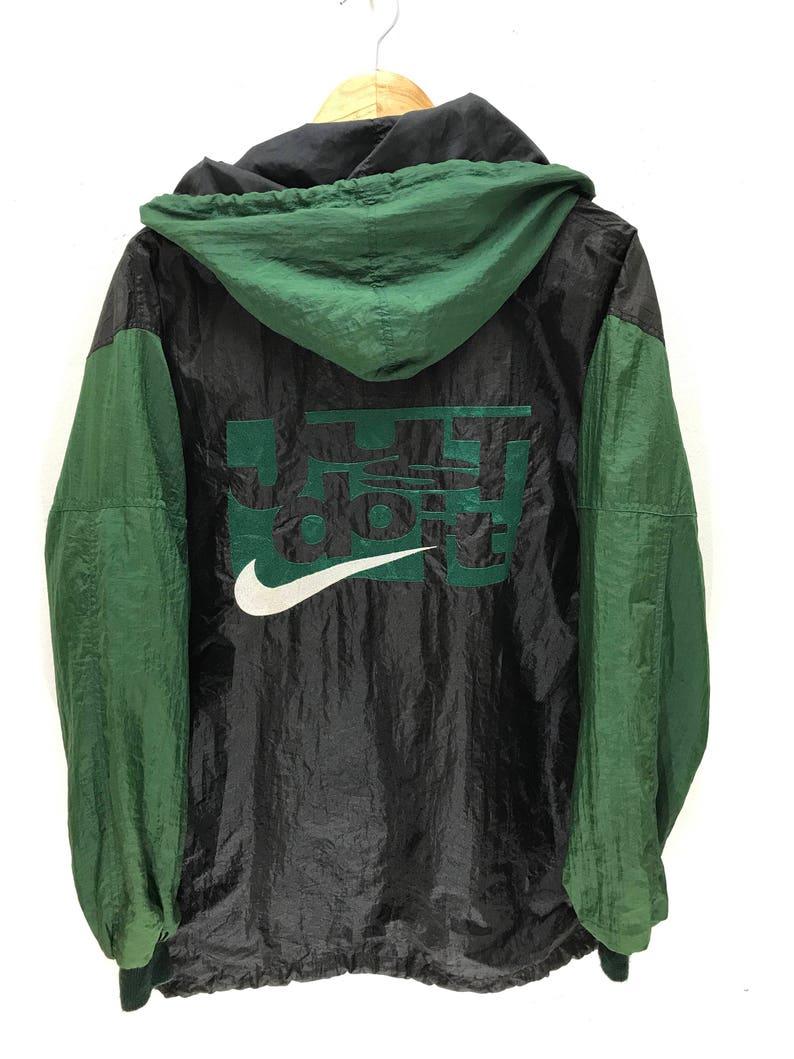 Nike Just Do It Vintage 90s Rare Nike Hoodie Windbreaker Jacket Big Embroidery Logo Hip Hop