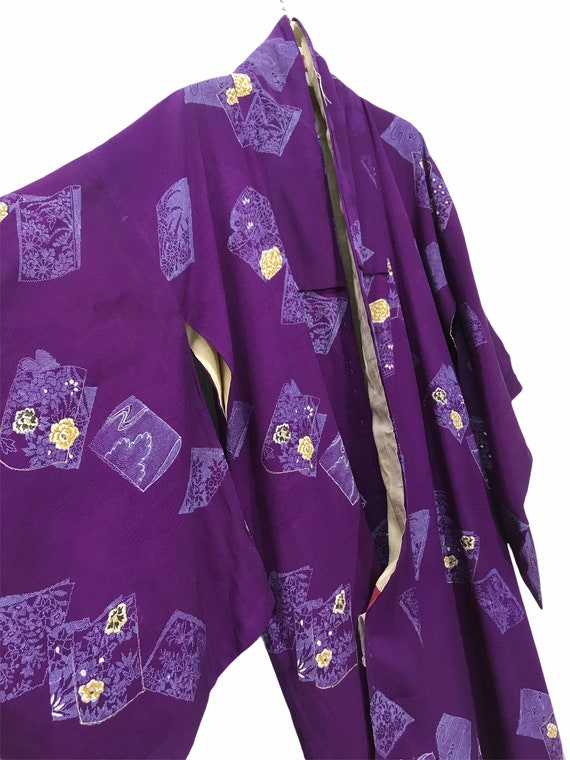 Made in Japan Vintage Kimono Wool Florals Butterflies Kimono Robe Light Jacket Sashiko Stitch Handmade