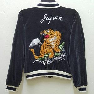 Vtg!!!Rare 90\u2019s Satin Sukajan Jacket Embroidery DragonSouvenir Sukajan JapanSize L