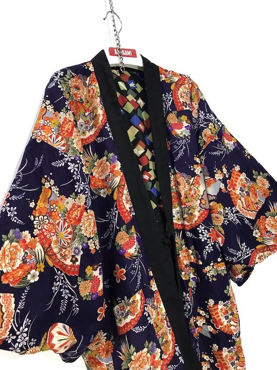 Reversible Hanten Jacket Padding Florals FullPrin… - image 1