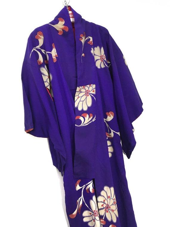 Made in Japan Vintage Kimono Purple Silk Crepe Jac