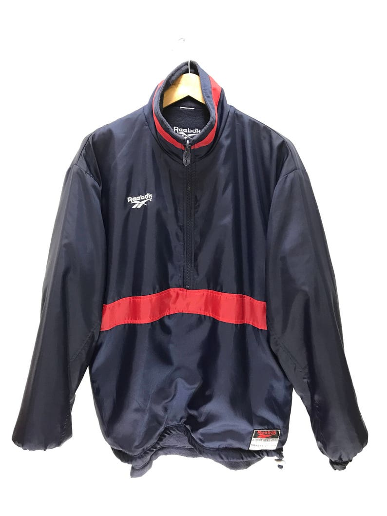 36c34ae31e654 Reversible Reebok Jumper Vintage 90s Rare Reebok Windbreaker Materials  Fleece Pullover