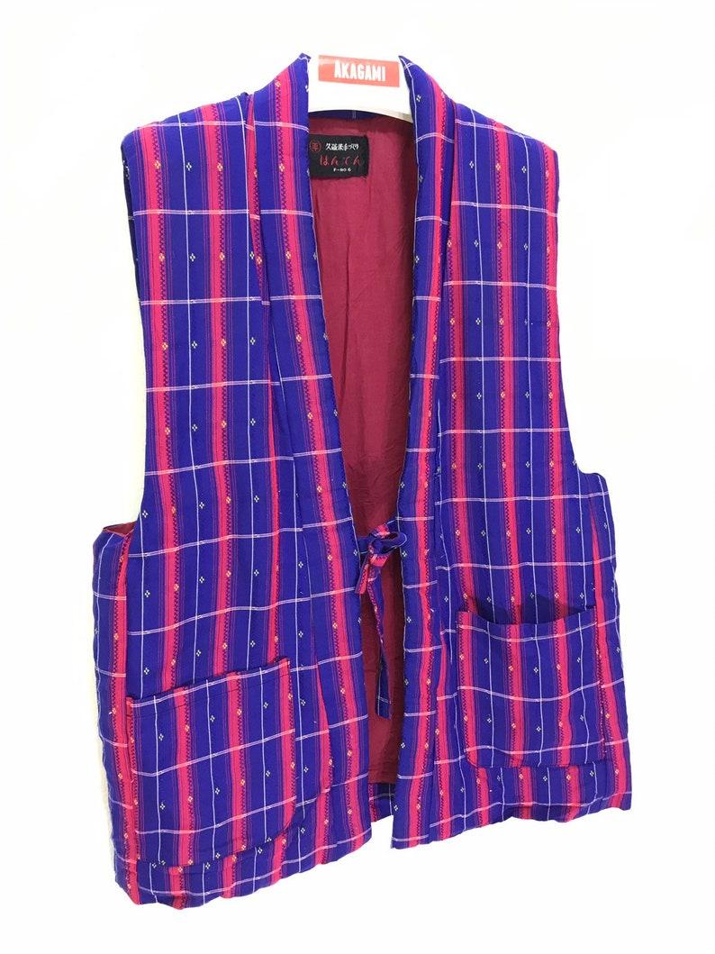 Made in Japan Vintage Hanten Vest Jacket Padding Tartan Plaid Kimono Samurai Hand Made Sashiko Stitch