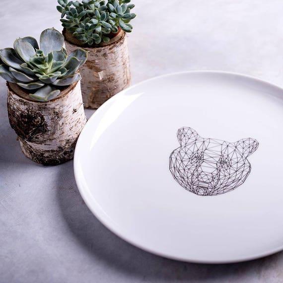 Fine Porcelain Plate Polygonal Lynx Porcelain Dinner Plate Ceramic Modern Plate White Serving Plate Polygon Lynx Housewarming Gift