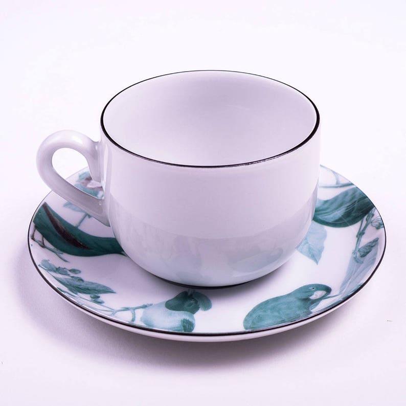 set of 2 vintage illustrations of brazilian birds dessert plate fine porcelain set cake plates, cake set saucer Green porcelain cup