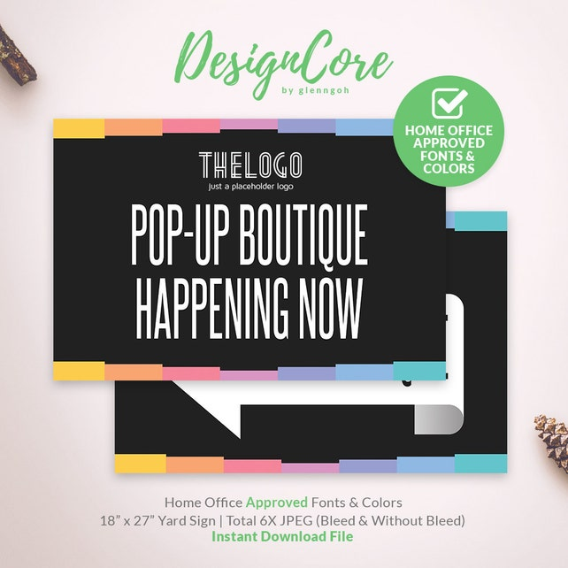 Yard Sign, Home Office Approved, Pop Up Boutique Happening, Colors on Black, Printable, Instant Download, Digital, Banner, Fashion, DCYS002