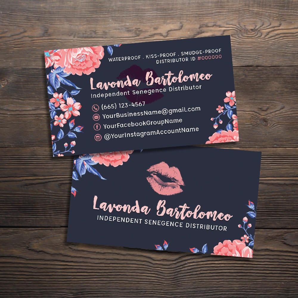 Lipsense Business Cards Senegence International Lipsense Etsy