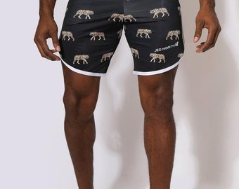 Men's Fun Funky Patterned Summer Causal Workout Shorts- Tiger, Camo, Cross, Lightening, Jed North Logo