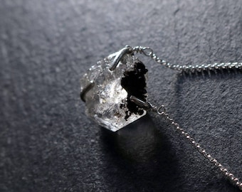 Rough Herkimer Diamond Necklace — Sterling Silver Necklace, Solitaire Necklace, Rough Stone