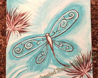 Dragonfly painting, dragonfly canvas, dragonfly wall art, turquoise wall art, blue wall art, blue room decor, christmas gift for her,