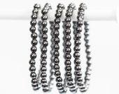 Hematite Bracelet, Small Bead, Silver Hematite Stretch Bead Bracelet Grounding, Vitality, Harmony, Balance, inspiration