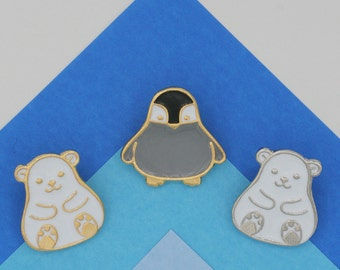 Arctic Animal Lapel Pin (Penguin, Polar Bear)