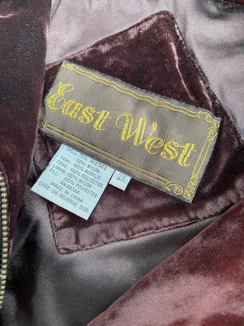 Vintage EAST WEST quilted velvet coat with faux fur collar size 2X plus size 34 sleeve coat cozy unique brown