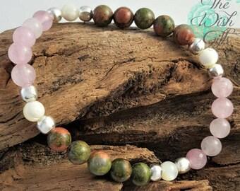 Handmade Fertility Bracelet with Rose Quartz, Unakite and Mother of Pearl - Healing Gemstones - IVF TTC Gift 6mm