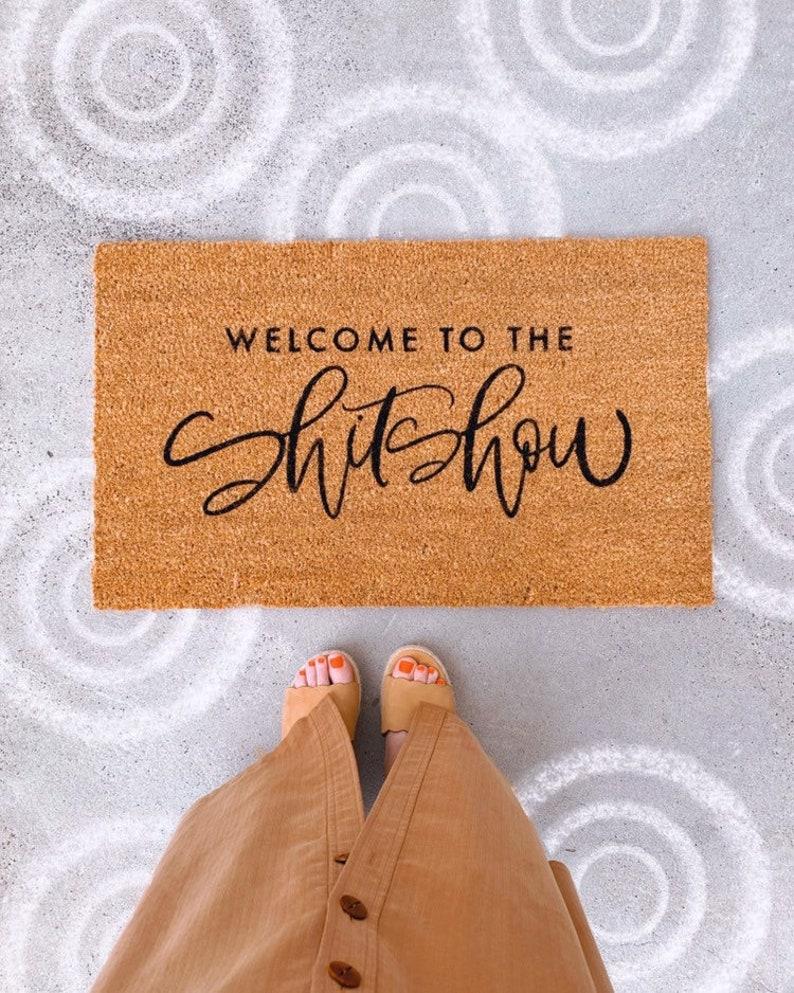 house warming gift Welcome to the shitshow welcome mat custom hand painted doormat outdoor doormat